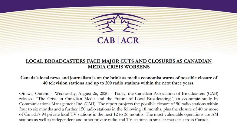 疫情将导致加拿大200多家私营广播电视机构停播