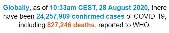 世卫组织:全球新冠肺炎确诊病例超2425万例