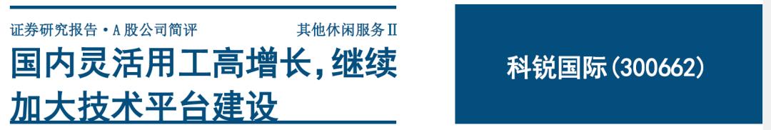 科锐国际:国内灵活用工高增长,继续加大技术平台建设
