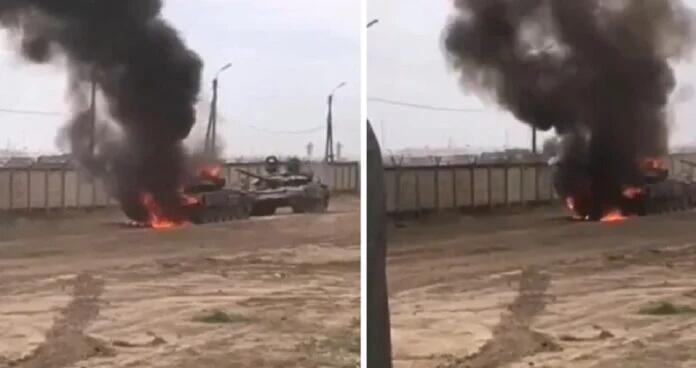 俄军T-72坦克被曝参加15万大军战备演习时起火(图)