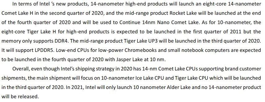 Intel 11代酷睿H系列明年Q1发布:游戏本终于用上10nm
