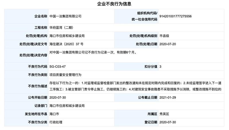 中国一冶因华府蓝湾工程违规被记不良行为记录 其系中国中冶控股子公司