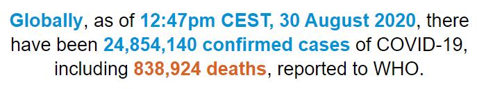 世卫组织:全球新冠肺炎确诊病例超过2485万例