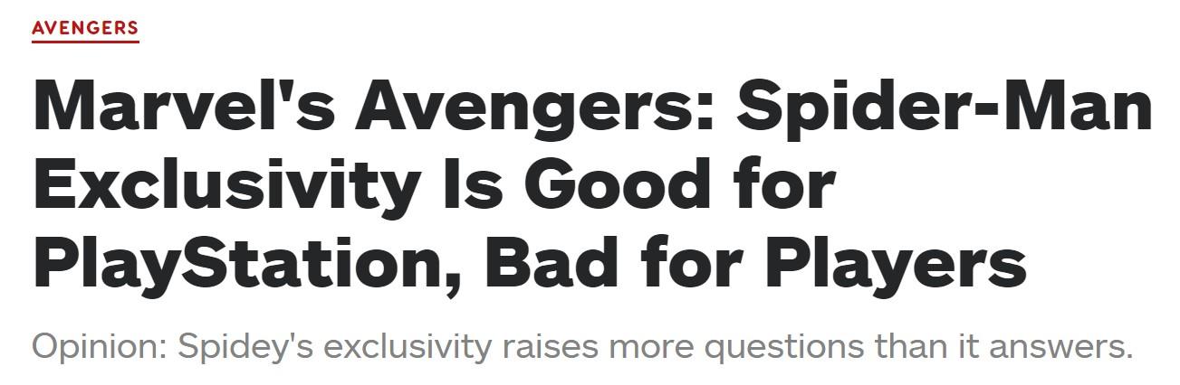 IGN:索尼独占《漫威复仇者联盟》蜘蛛侠角色有利于自己不利于玩家
