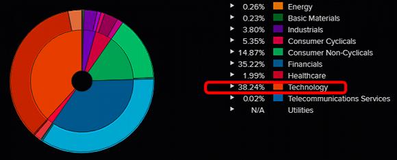 巴菲特旗下伯克希尔的投资组合中科技股持仓比例超过金融股
