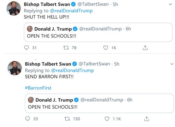 """特朗普写了句""""开学吧"""" 把""""闭上你的嘴""""送上热搜"""