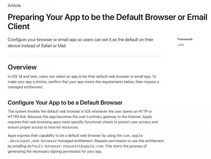 [图]苹果更新支持文档:第三方APP可替代Safari和Mail成默认应用
