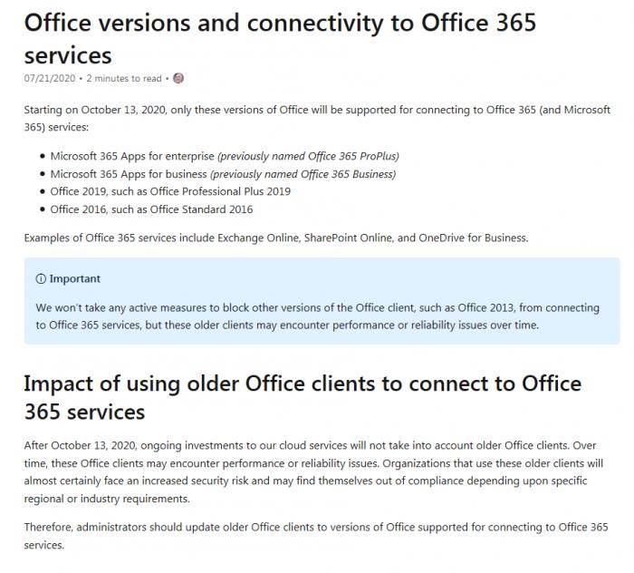 [图]Office 365云服务将于10月停止对Mac端微软Office 2016的支持