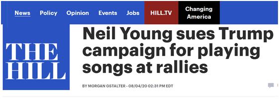 摇滚歌手起诉特朗普竞选团队 因集会用了他的歌
