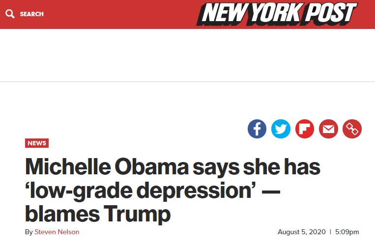 """米歇尔-奥巴马自曝""""轻度抑郁"""" 部分原因在特朗普"""