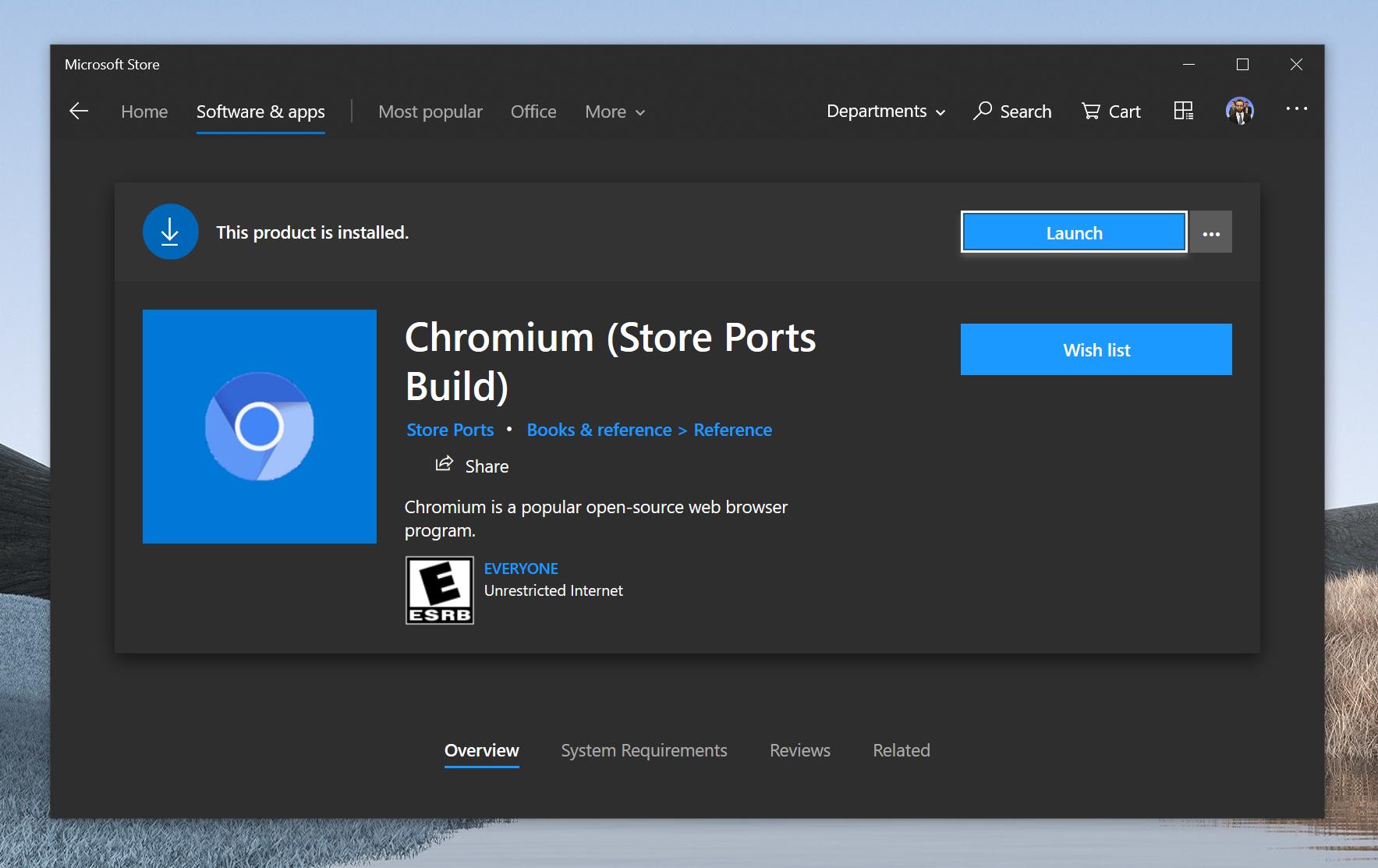 开源Chromium浏览器意外现身Microsoft Store