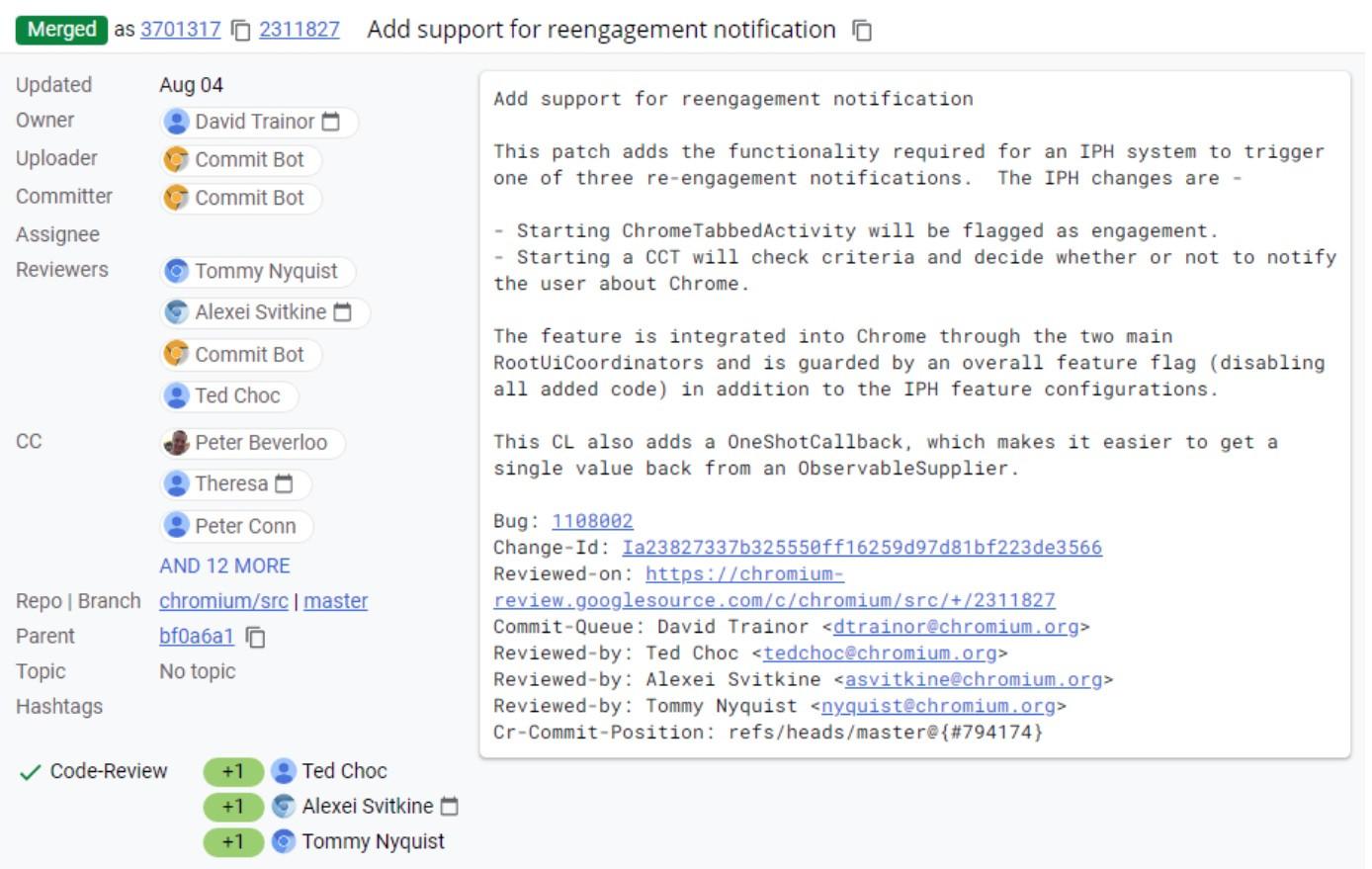 代码显示:Chrome 浏览器可能会发送通知提醒用户使用该软件