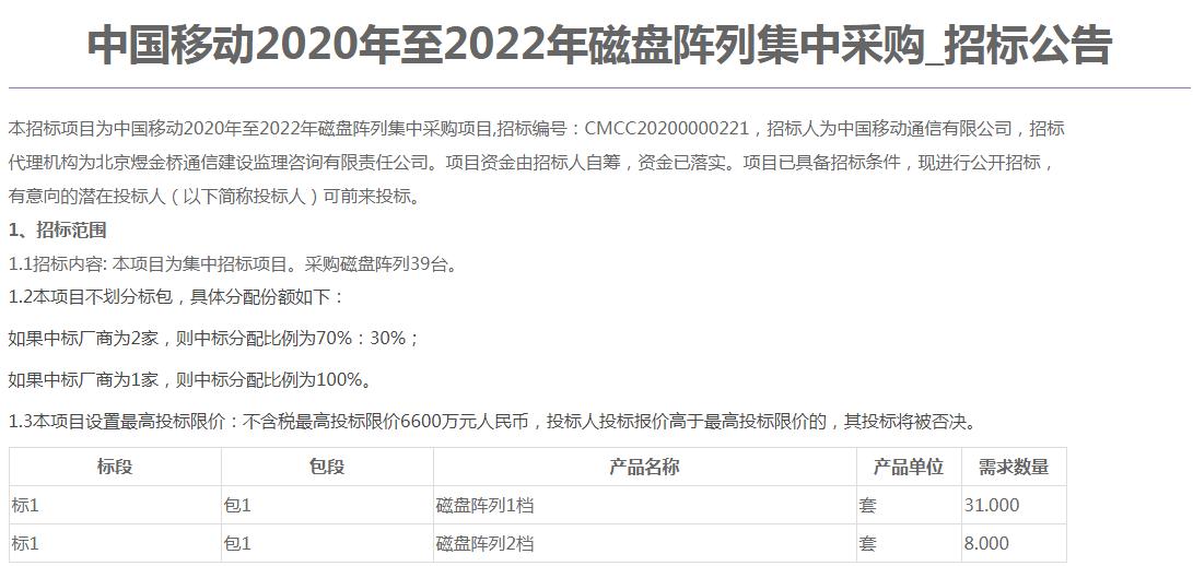 中国移动磁盘阵列集采:需求数量39台