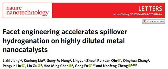 化学化工学院郑南峰、傅钢团队在《自然•纳米技术》报道溢流加氢大幅降低贵金属用量的重要进展