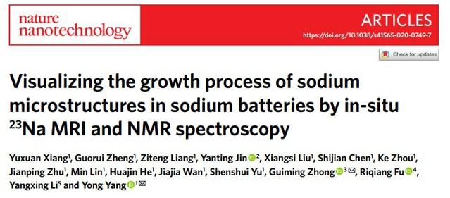 化学化工学院杨勇课题组在《自然•纳米技术》报道钠枝晶固体核磁成像技术研究的重要进展