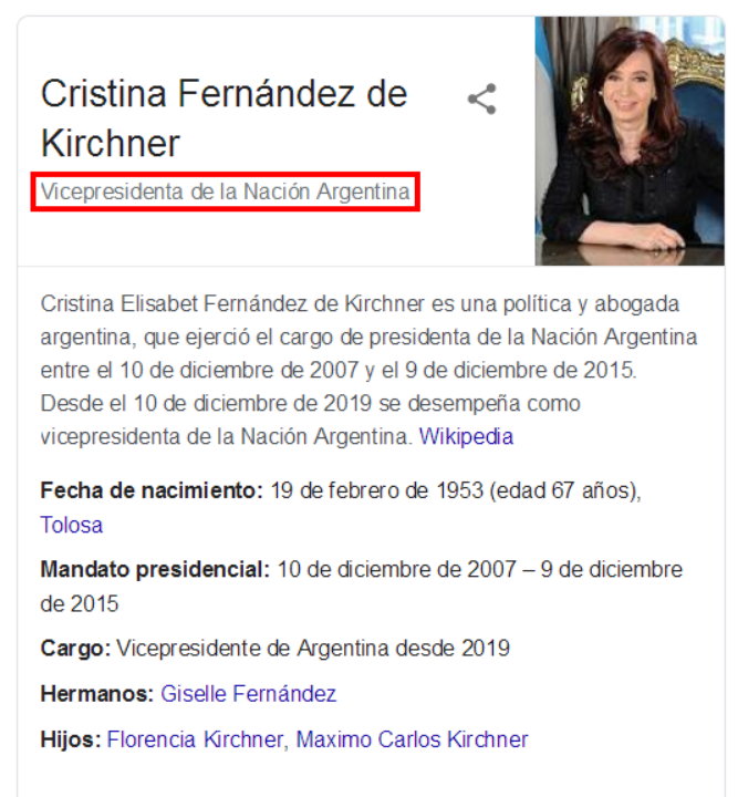 """△图为最新搜索后的简介,红框标注部分是""""阿根廷副总统"""""""