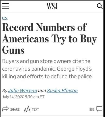 △《華尔街日報》指出,今年3月至6月,美国联邦查询造访局壹共措置了780万例关于采办枪支申请的背景查询造访。