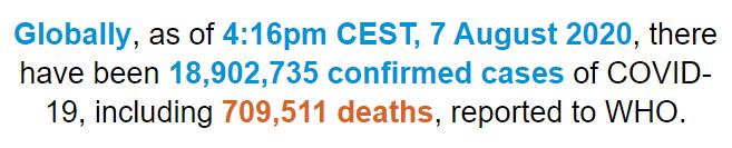 世卫组织:全球新冠肺炎确诊病例超过1890万例