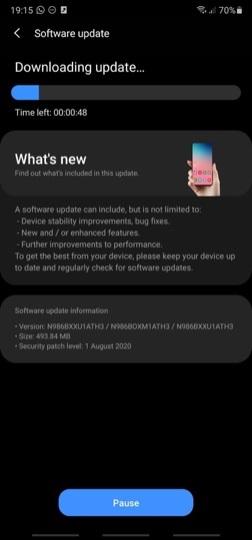 三星 Galaxy Note 20/Ultra 将获推首个软件更新