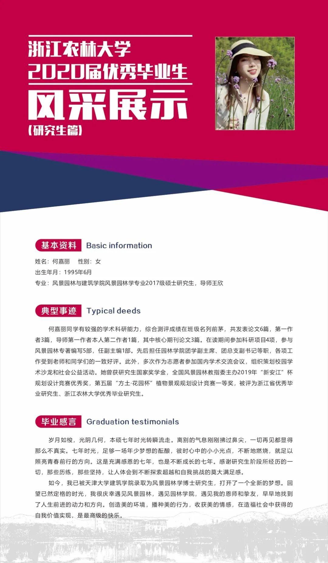 圆梦浙农林|2020届优秀毕业生展示之研究生篇