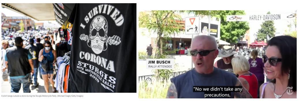 """△左:商店出售的T恤上印着:""""我挺过了新冠""""; 右:外来游客对媒体表示自己未采取任何防疫措施"""