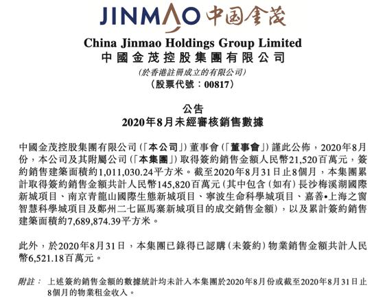 中国金茂销售表现亮眼,资金杠杆率进一步下降