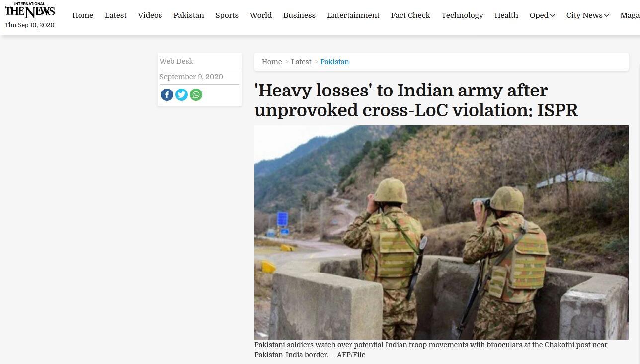 印巴交火 巴军方:敌人在人员与物资上受到重大损失