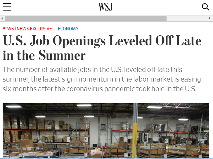 """美国空缺岗位增加缓慢 劳动力市场依旧""""僧多粥少"""""""