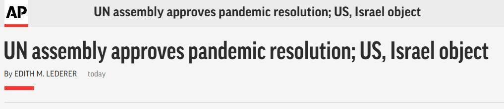 (美联社:联合国大会通过新冠疫情决议,美国和以色列反对)