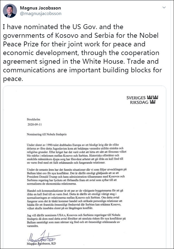 一周被两次提名诺贝尔和平奖 特朗普转推:没人能做到
