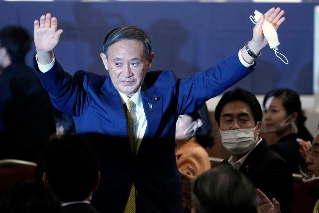 日本内阁官房长官菅义伟在9月14日举行的自民党总裁选举中获胜。新华社/法新