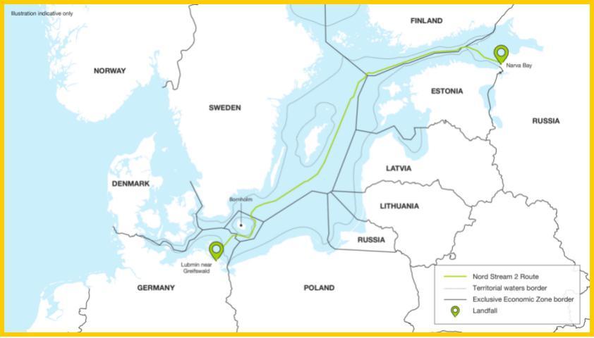 """△""""北溪-2""""天然气管道项目路线图与德国穆克兰港"""