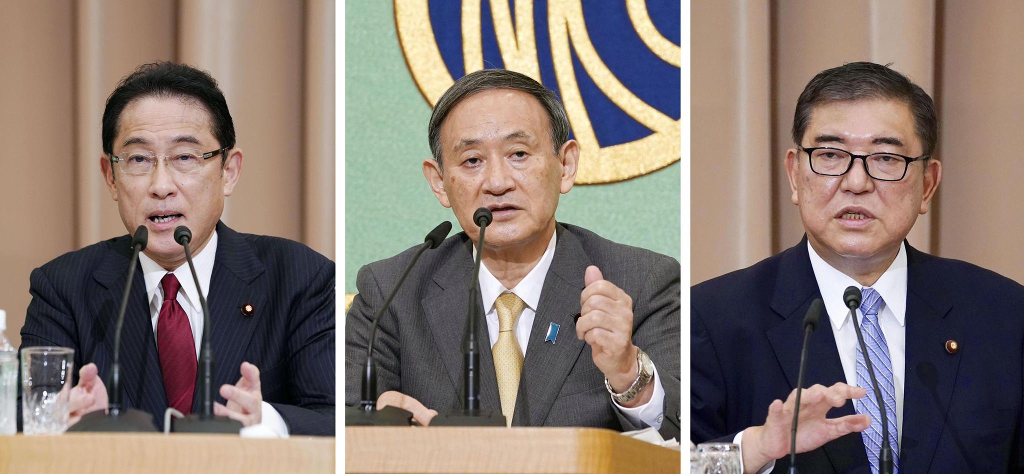 △岸田文雄(左)、菅义伟(中)、石破茂(右)