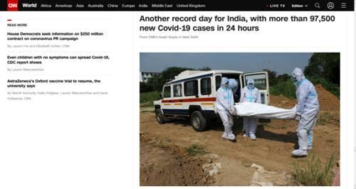 又创纪录!印度昨日报告新增超9.7万新冠确诊病例