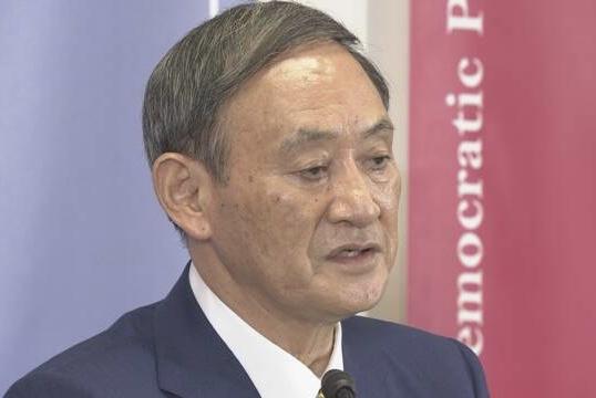 菅义伟以新任自民党总裁身份召开首次记者会