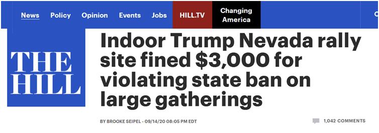 《国会山报》:特朗普内华达州室内集会场地(提供方)因违反州大型集会禁令被罚3000美元