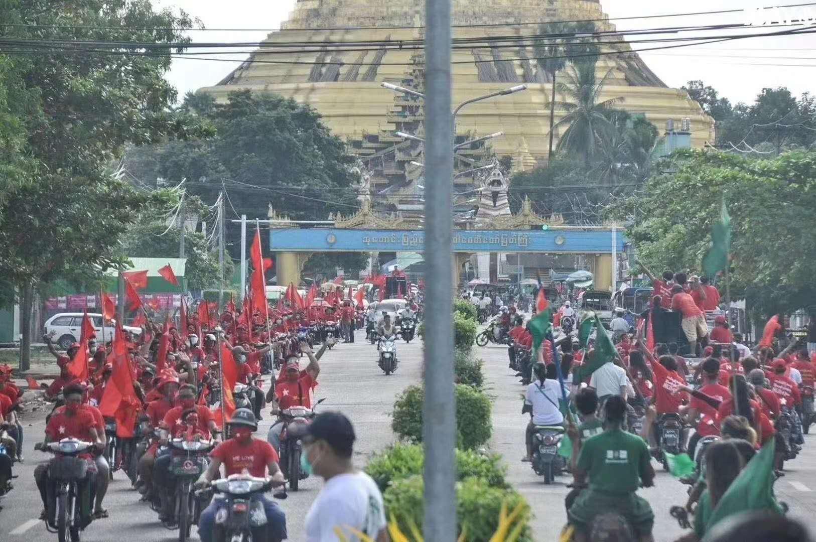 △图为缅甸近日选举造势活动