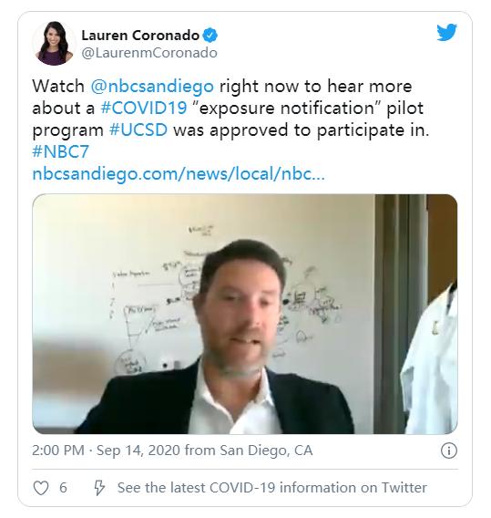 加州大学圣迭戈分校将推出基于苹果-谷歌框架的COVID-19应用