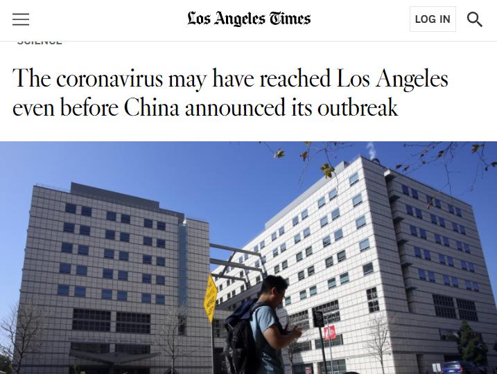 美国最新研究:中国宣布疫情前 新冠病毒可能就已存在于洛杉矶图片