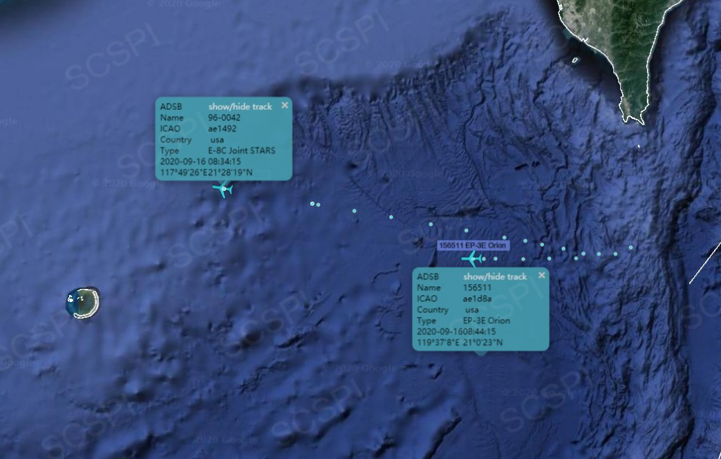 """""""南海计谋态势感知""""设计平台9月16日公布的美军侦察机在南海航行门路"""