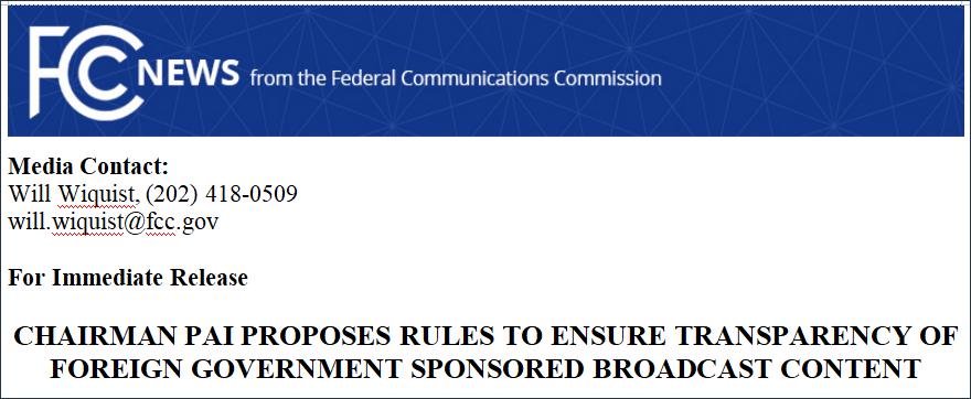 针对中俄赞助的电视和广播节目 FCC又动起歪脑筋图片