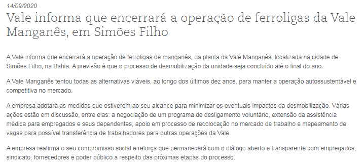 淡水河谷:将终止在巴伊亚州SimõesFilho的锰铁合金业务
