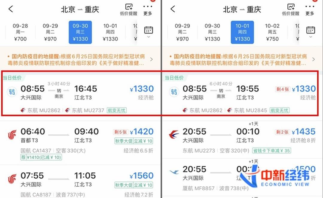 9月30日、10月1日北京到重庆经济舱机票最低價。数据來源:携程观光APP