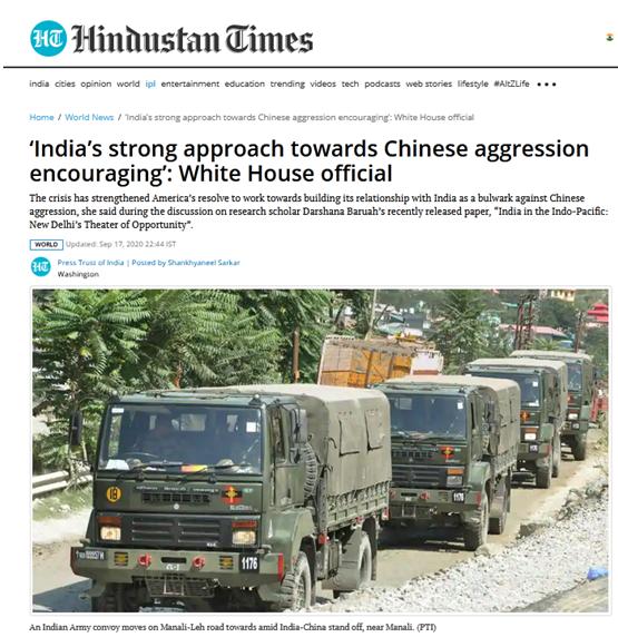 """美官员痛夸印度""""强硬对中国"""" 还称美提供强大支持图片"""