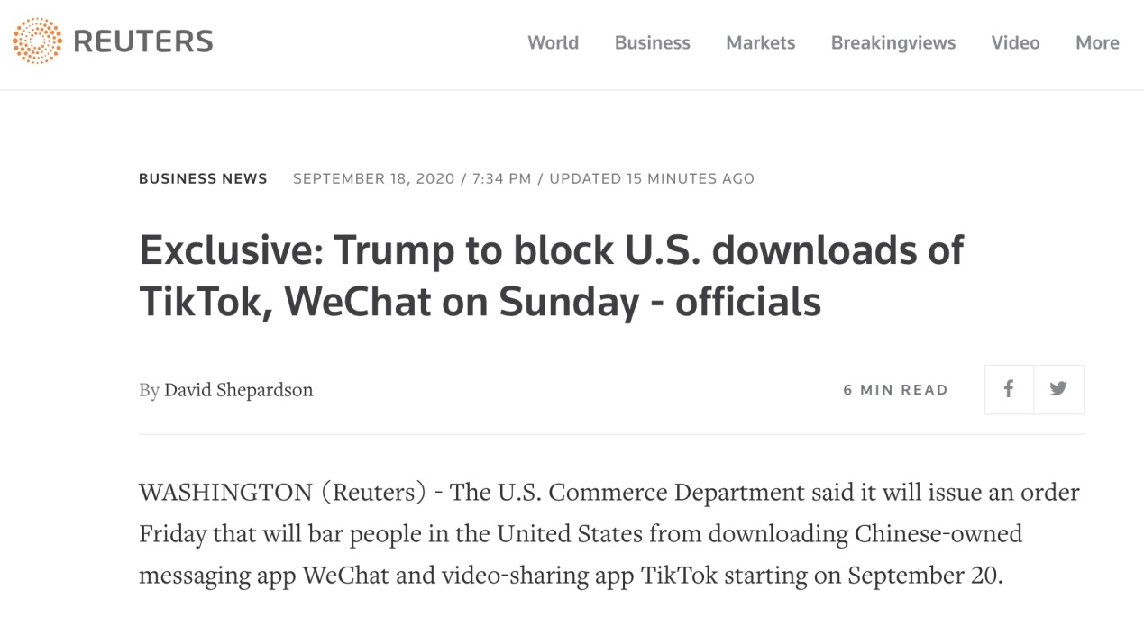 外媒:美政府计划9月20日起禁止在美境内下载TikTok和微信,在等特朗普拍板图片
