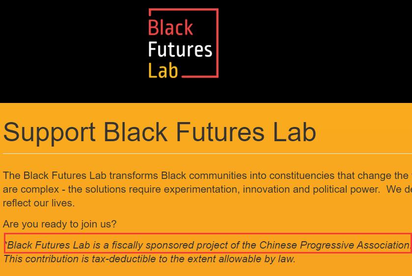 """图为美国""""黑人未来实验室""""的官网上给出的信息,该信息显示该项目是""""华人进步会""""资助的"""