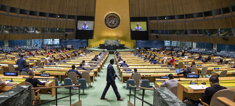 新冠疫情暴发以来,联合国大会通过在线方式举行会议,9月3日是自3月以来联大首次举行面对面会议。图自联合国官方网站
