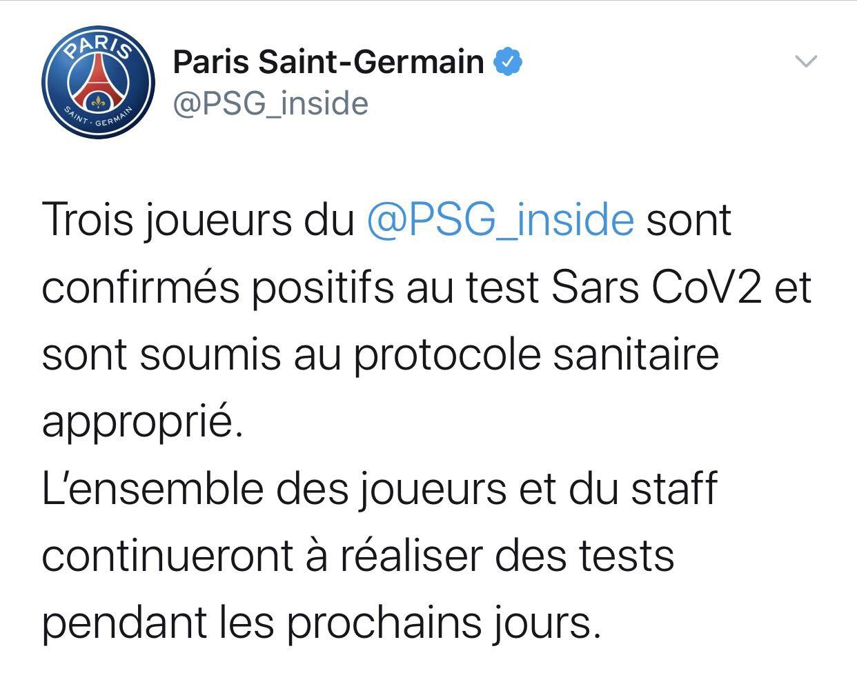 巴黎圣日尔曼俱乐部3名队员新冠病毒检测呈阳性