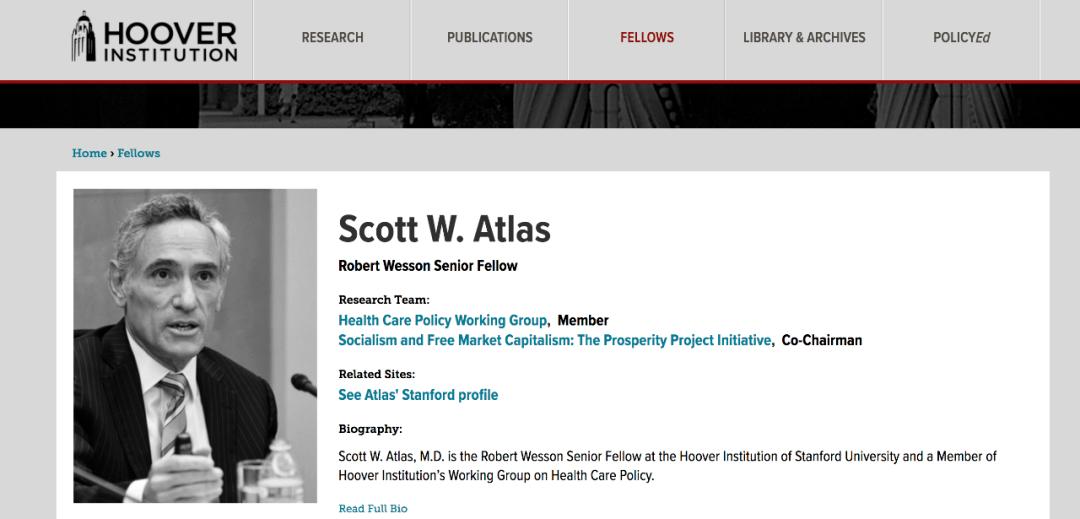 阿特拉斯是斯坦福大学胡佛研究所高级研究员,主要研究医保政策