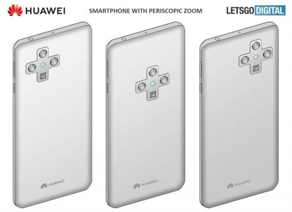 华为最新手机外观专利图:屏下摄影与十字型四摄